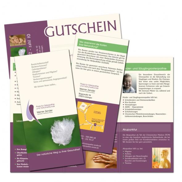 abraxis Grafikdesign: Beispiel Faltblätter, Praxis für Osteopathie und Naturheilkunde Werner Zender